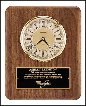 American Walnut Vertical Engraved Wall Clock | Laserworx Custom Engraving Pottstown