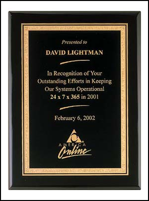 Black Stained Piano Finish Florentine Border Award | Laserworx Custom Engraving Pottstown