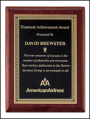 Rosewood Stained Piano Finish Diamond Award | Laserworx Custom Engraving Pottstown
