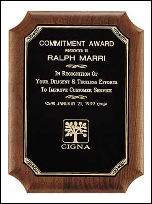 Walnut Black Brass Gold Border Award | Laserworx Custom Engraving Pottstown